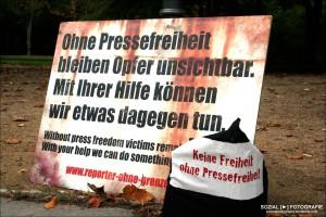 Aktion in Berlin für Pressefreiheit