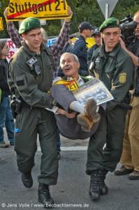 Ernest Petek bei einer Blockadeaktion