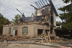 Zerstörte Flüchtlingsunterkunft in Weissach