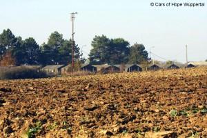 Blick eines Flüchtlingslagers von Außen