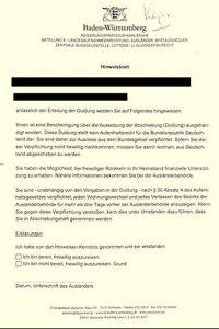 Duldung/Abschiebung - Hinweisblatt des Regierungspräsidiums
